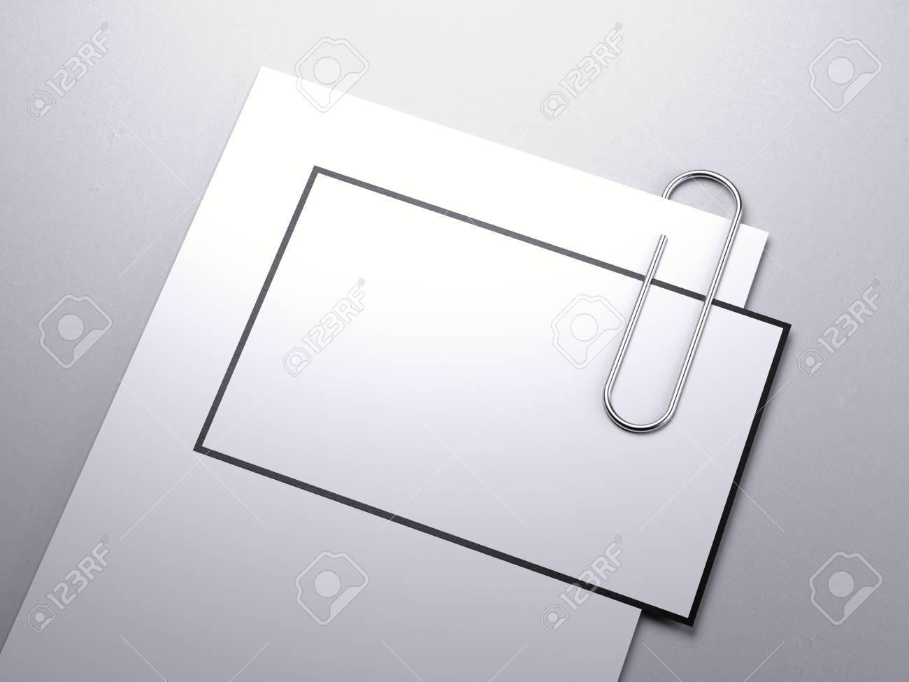 Fußboden Aus Packpapier ~ Blatt papier mit visitenkarte und clip auf weißem fußboden. 3d