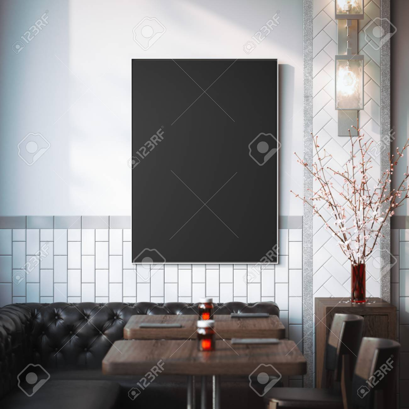 Restaurant Interior With Black Canvas On A Wall And Dark Sofa Stock Photo Picture And Royalty Free Image Image 65666288