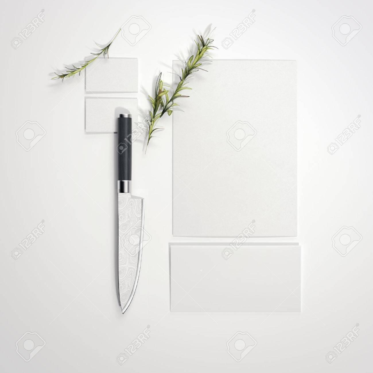 restaurant mockup with sharp knife on bright floor 3d rendering