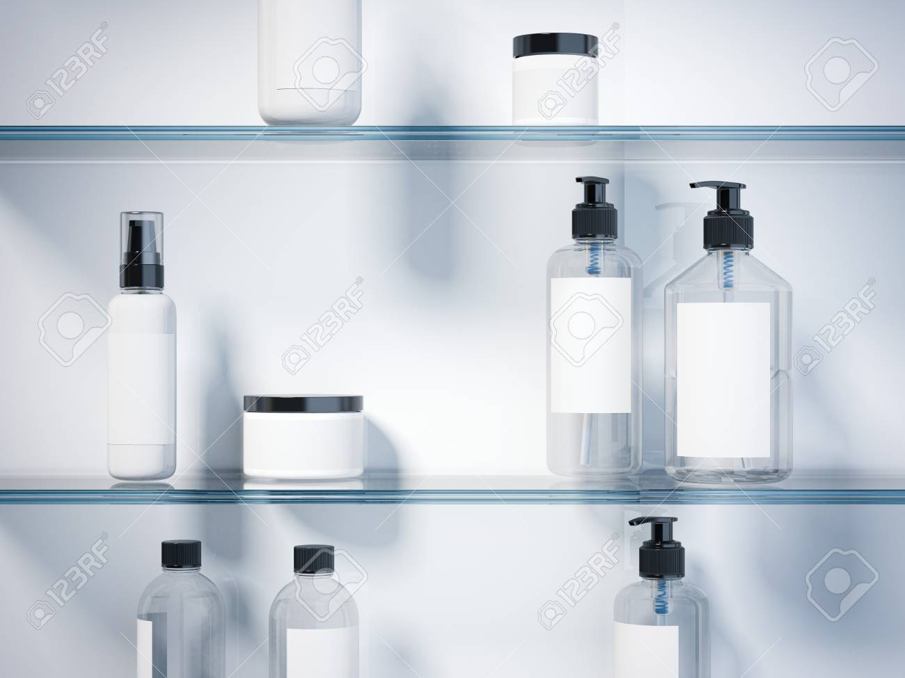Glass shelves with set of beauty hygiene containers in bright studio. 3d rendering - 68182856