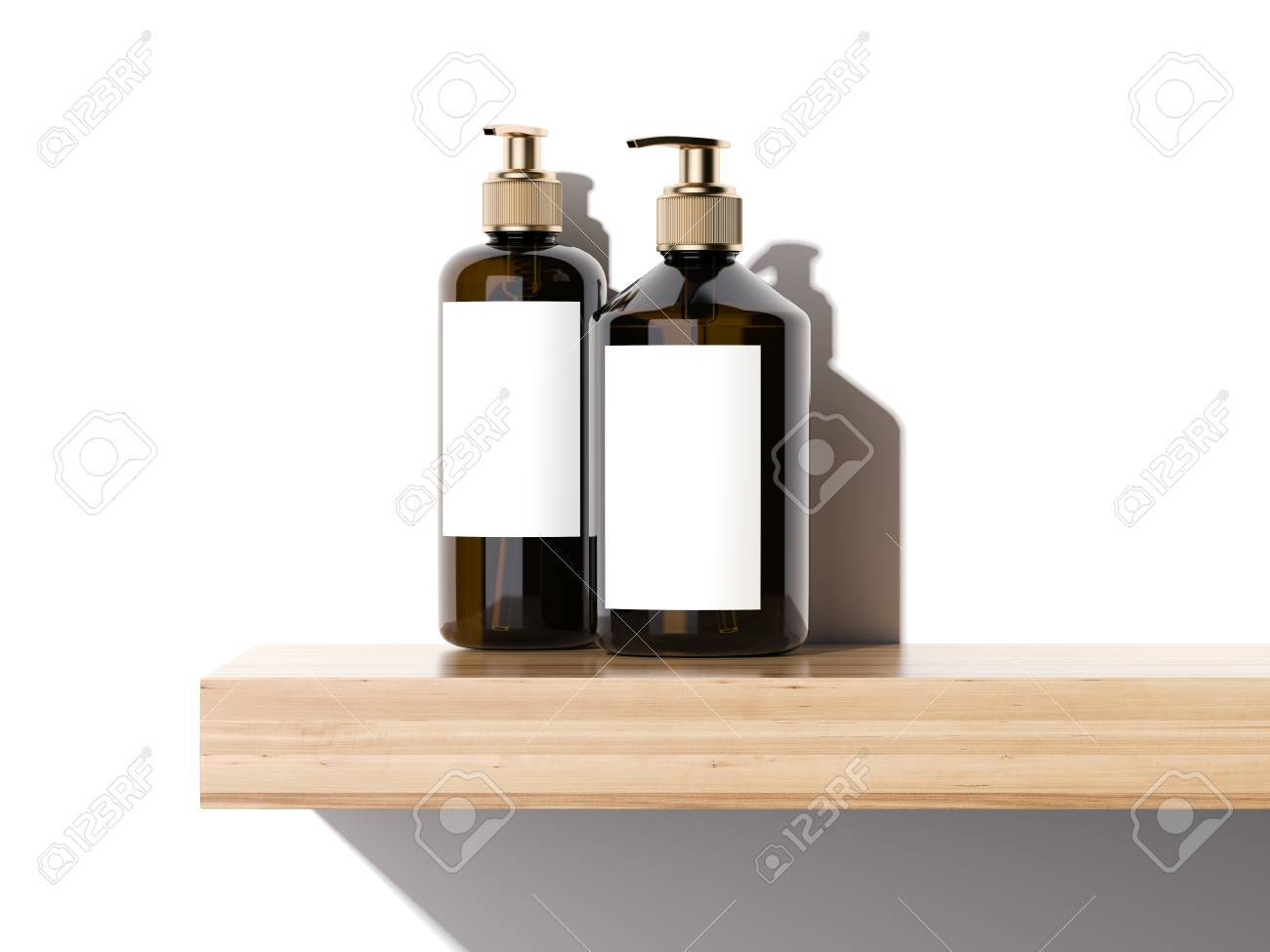 Beauty cosmetic plastic containers on a wooden shelf in bright studio. 3d rendering - 68182864