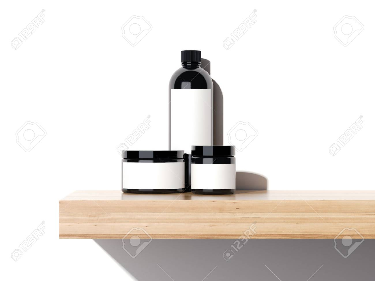 Beauty plastic containers on a wooden shelf in bright studio. 3d rendering - 68182865