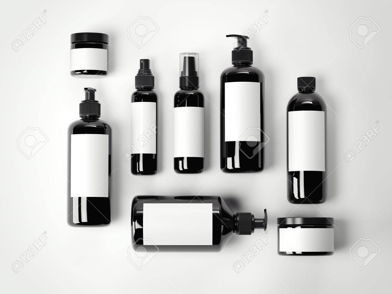 Set of black beauty cosmetic plastic containers on a white floor. 3d rendering - 68182868