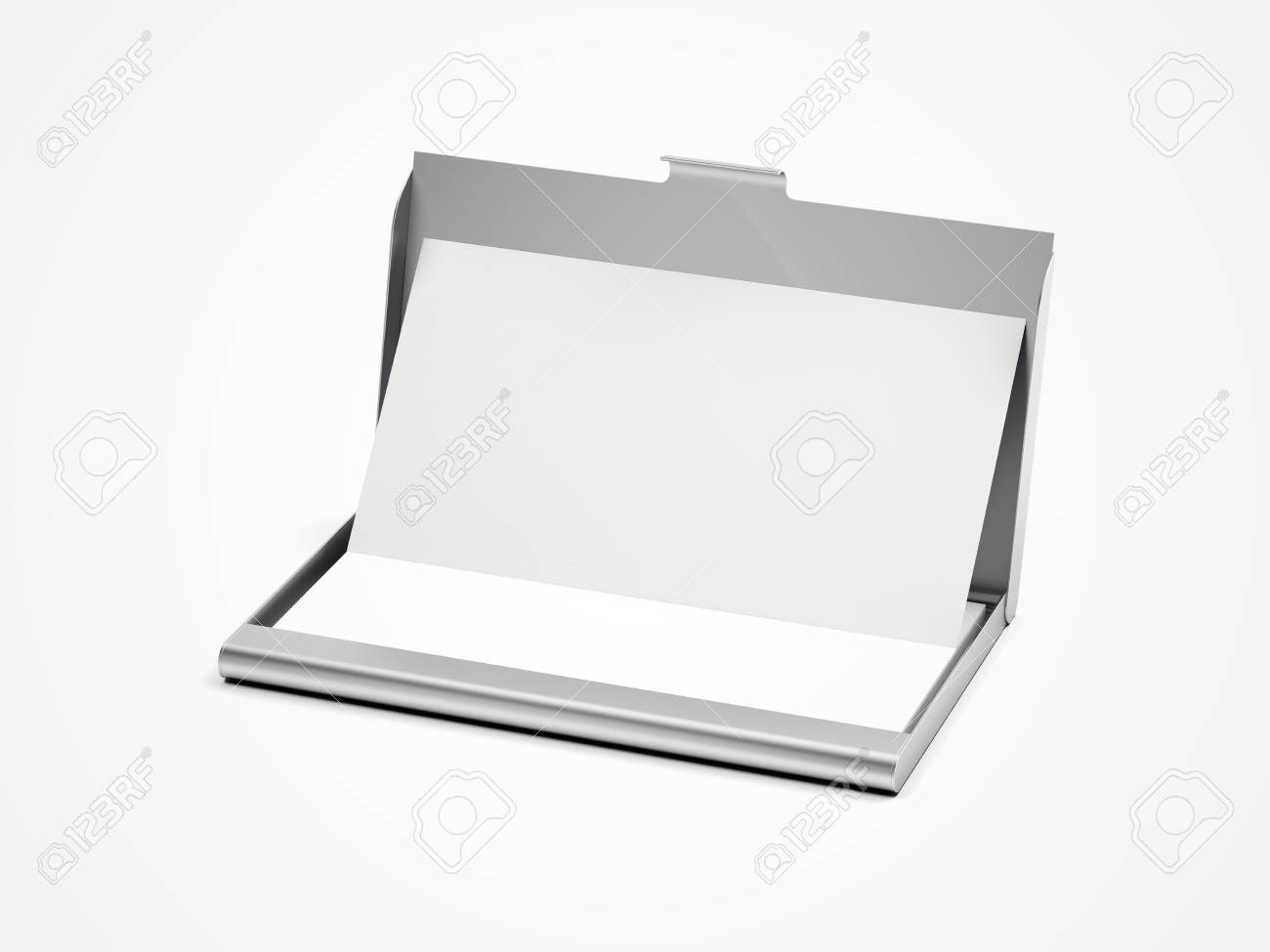 Metal Business Card Case On A White Floor. 3d Rendering Stock Photo ...