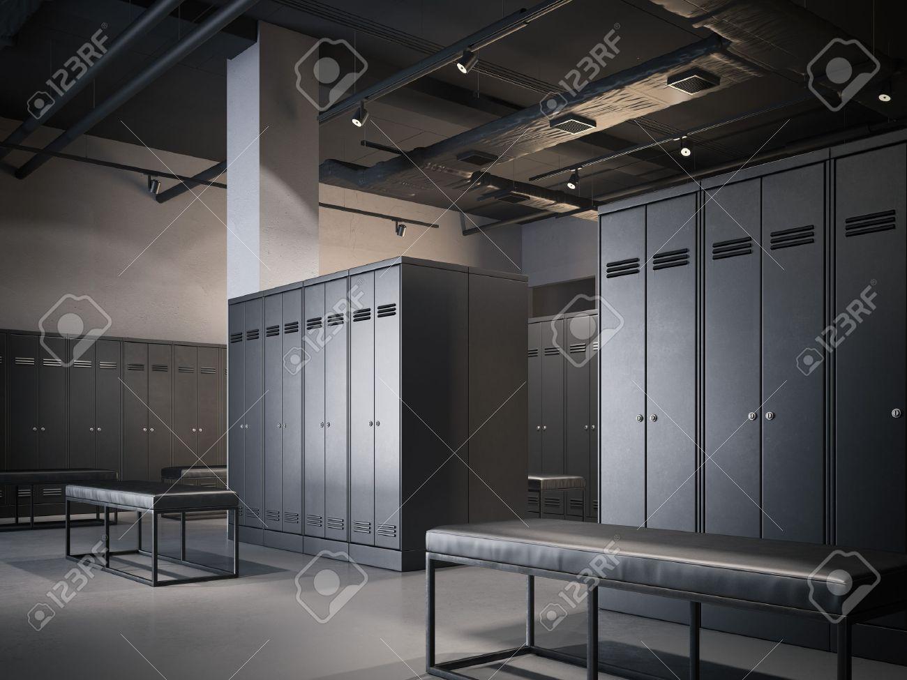 Modern locker room in loft interior with black cabinets. 3d rendering - 68193057
