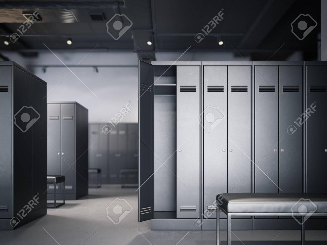 Locker room in modern loft interior with black cabinets. 3d rendering - 68193058