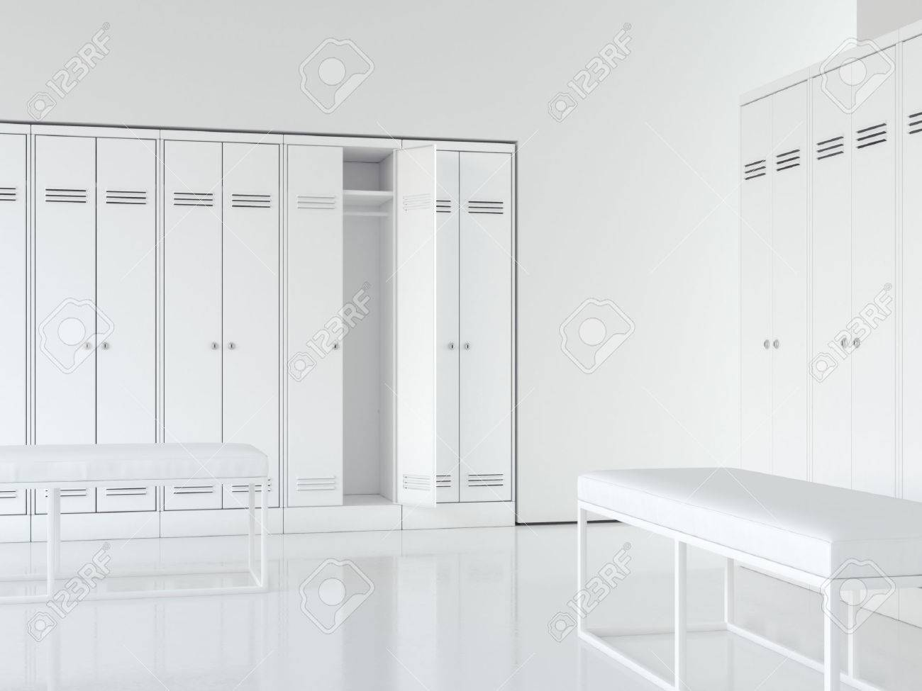 Clean bright interior of locker room with white cabinets. 3d rendering - 68193059