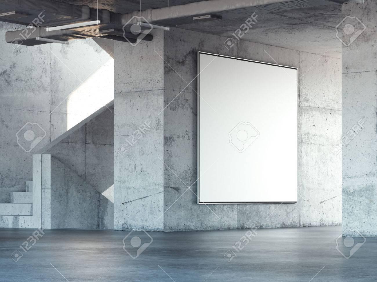 Concrete stairway with big blank square billboard. 3d rendering - 68193014