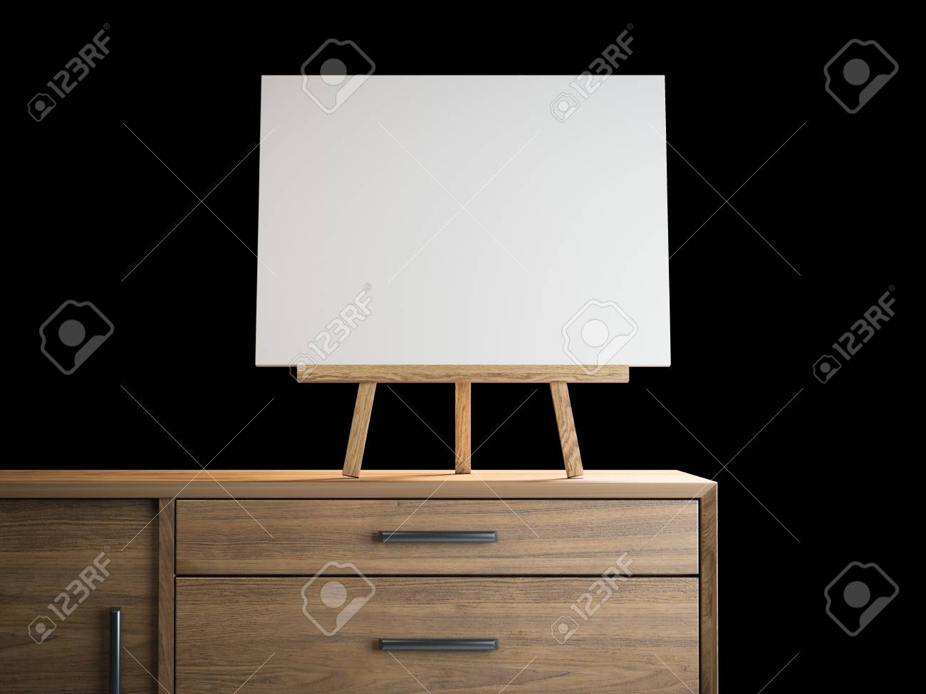 small easel with blank frame 3d rendering stock photo picture and