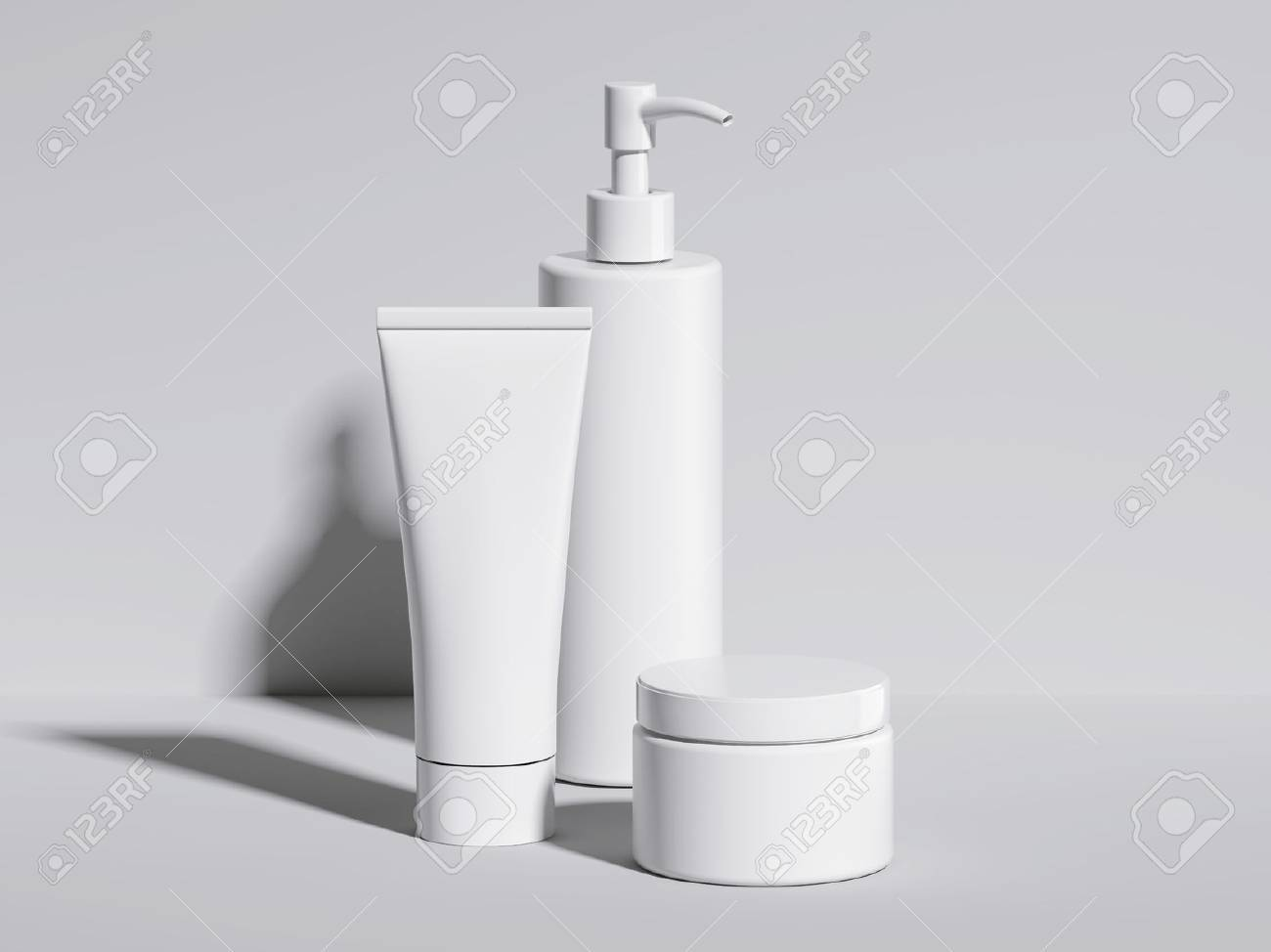 Set of beauty white hygiene containers. 3d rendering - 68917619