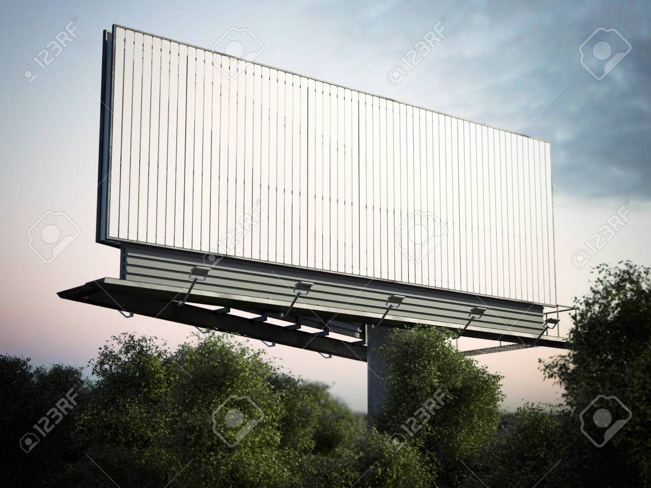 Blank outdoor advertising billboard in green trees. 3d rendering - 72461970