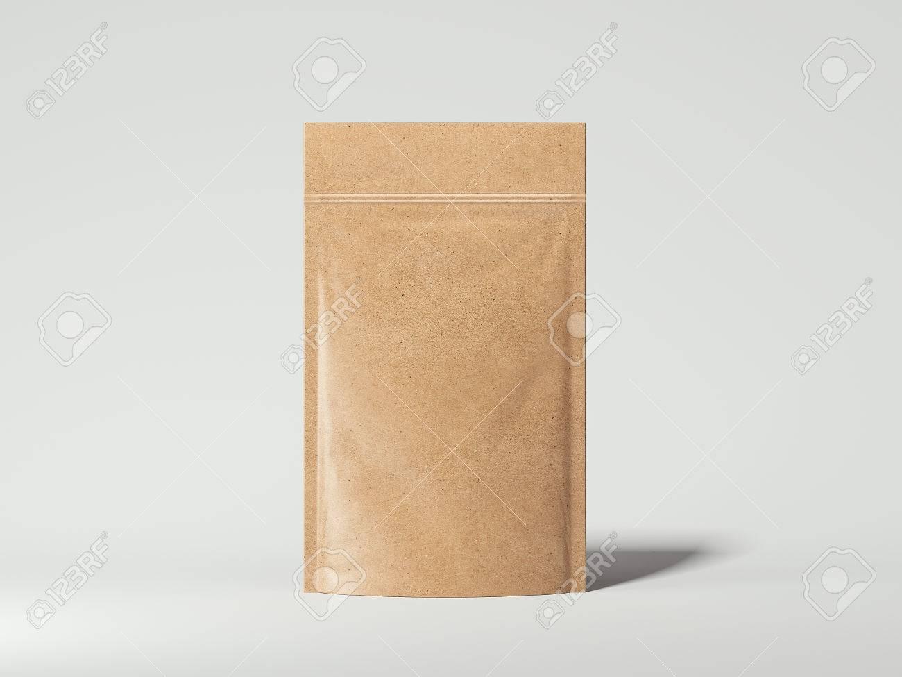 Blank packaging recycled kraft paper bag. 3d rendering - 72189877