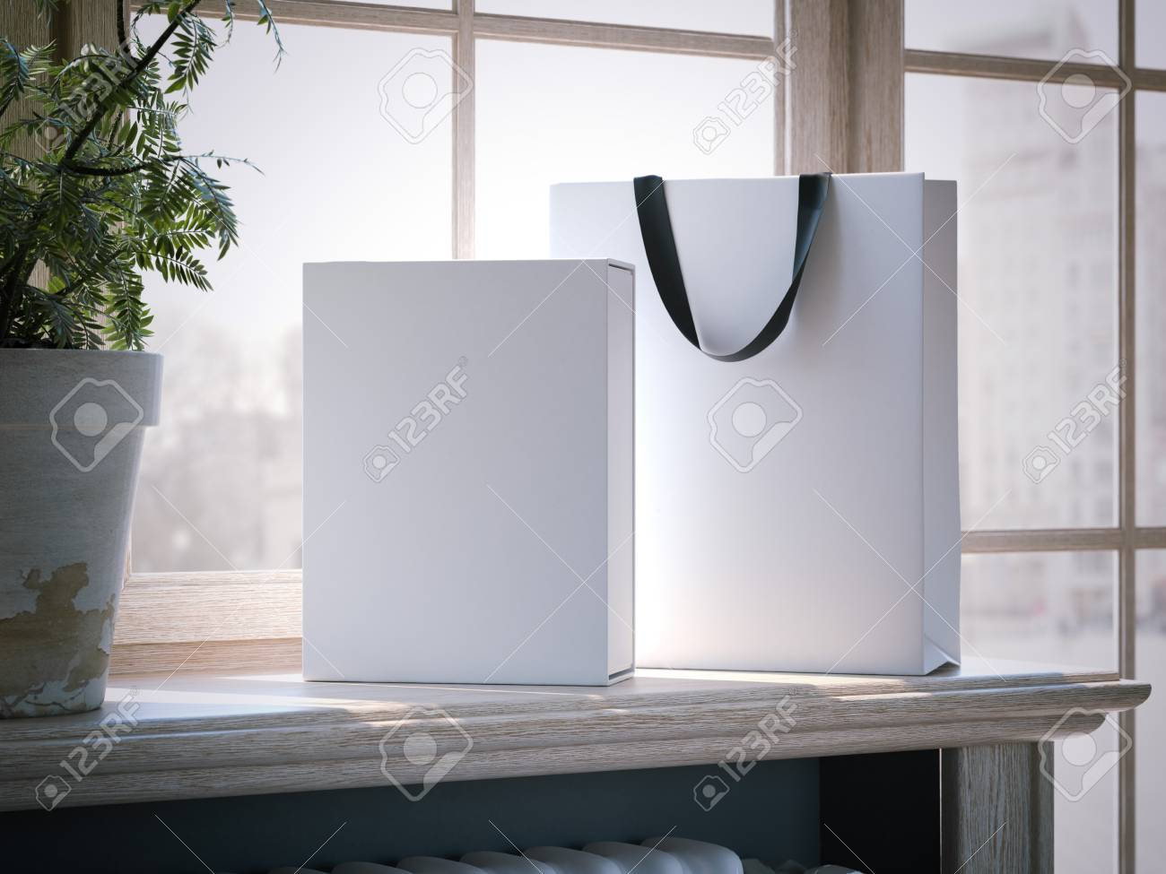 White box and shopping bag on a wooden window sill. 3d rendering - 74415790