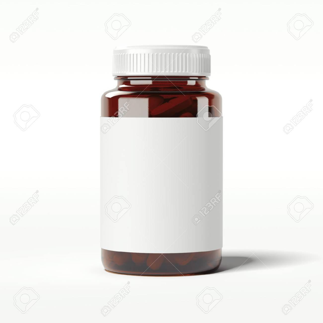 Brown bottle with pills. 3d rendering - 75307287