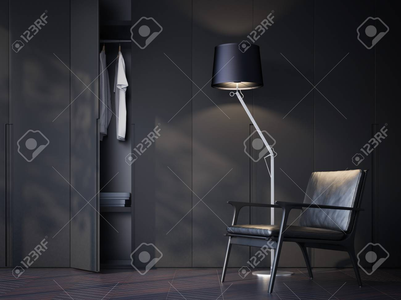 Modern wardrobe room with black leather chair. 3d rendering - 75307361