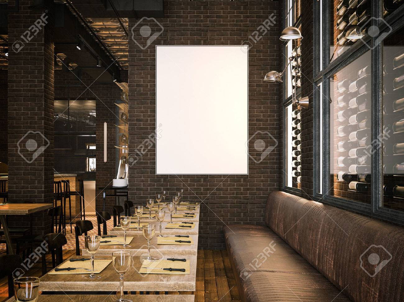 Interior of the vintage restaurant and blank canvas. 3d rendering - 77885647
