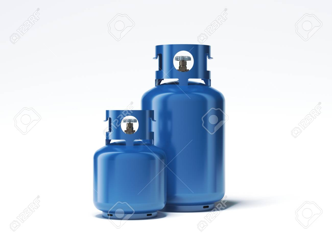 Two types of gas bottles isolated on white background. 3d rendering - 77885735