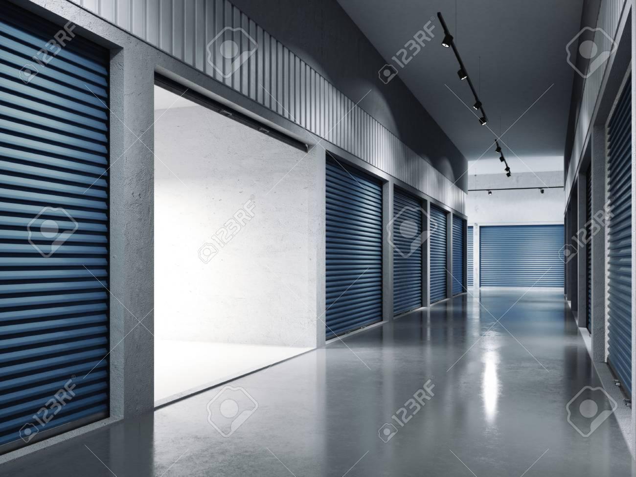 Storage facilities with blue doors. Opened door. .. 3d rendering - 80539831