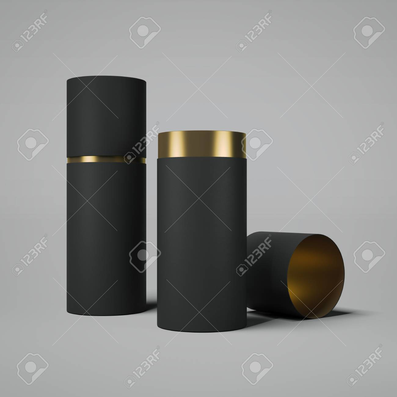 Black and gold tube opened. 3d rendering - 80523737