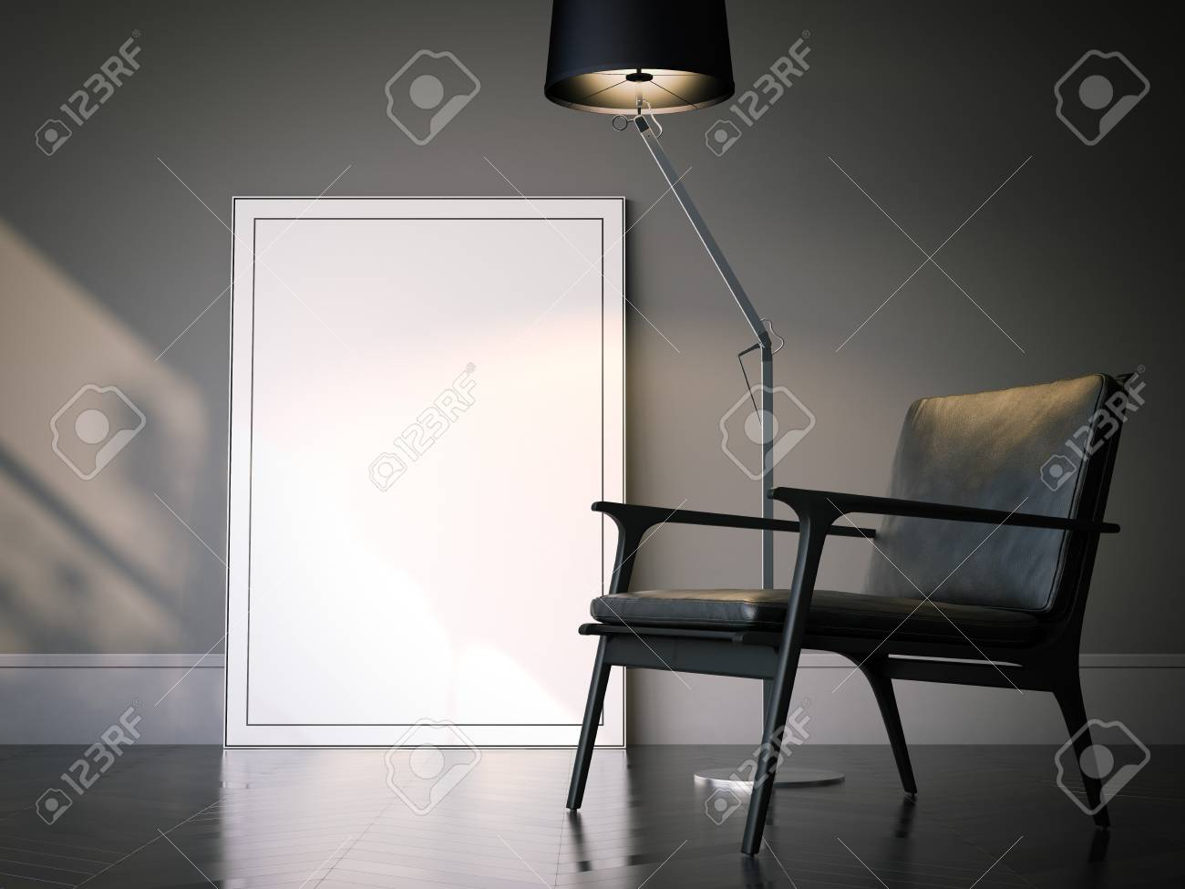 Blank white picture frame in classical interior. 3d rendering - 82324057