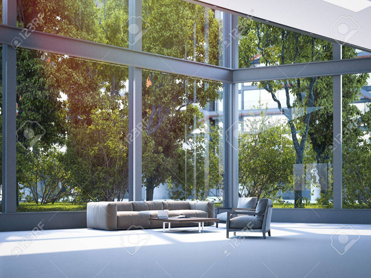 Modern office waiting area. 3d rendering - 85892085