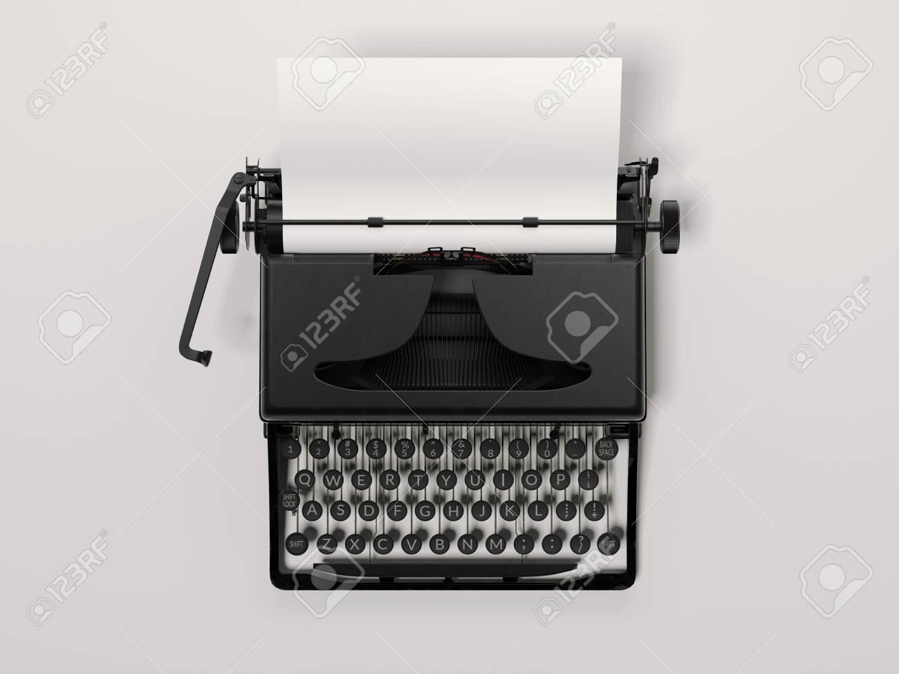 Black stylish typewriter with blank paper sheet. 3d rendering - 85946553