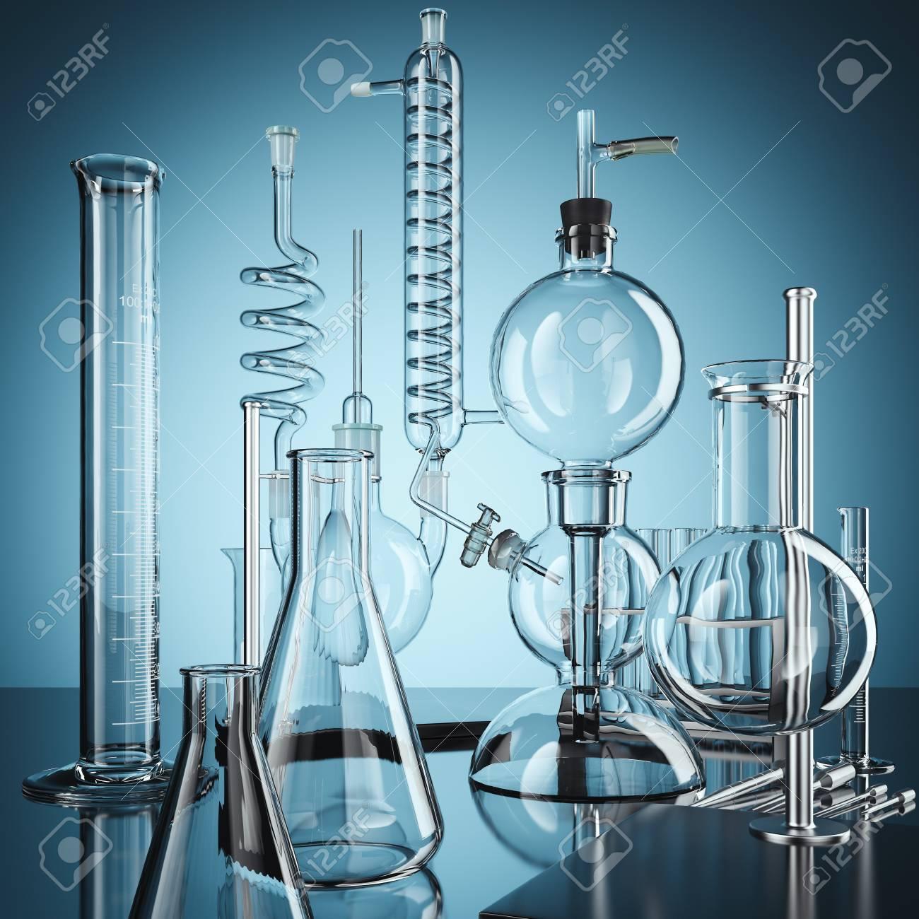 Glass chemistry lab equipment. 3d rendering - 90055994