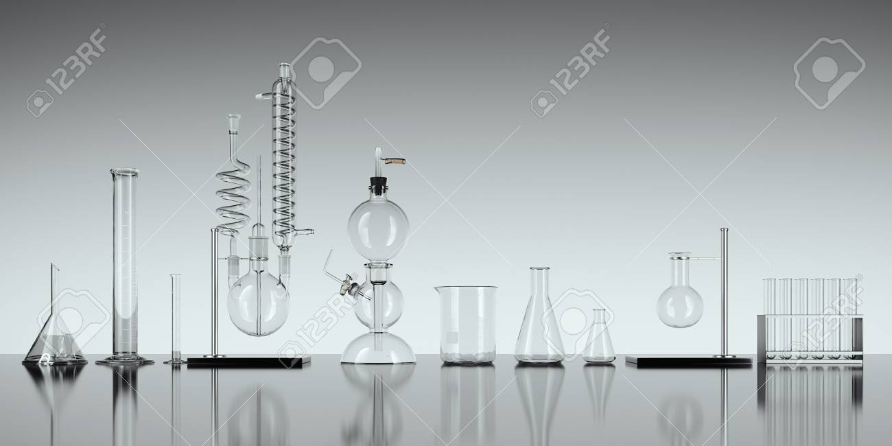 Glass chemistry lab equipment on white background. 3d rendering - 90148895