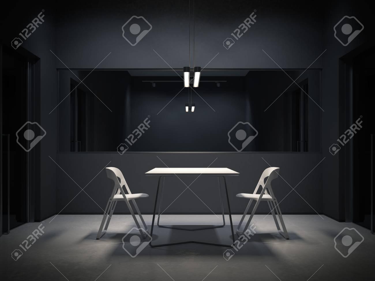 Dark room for interrogation. 3d rendering - 90148996
