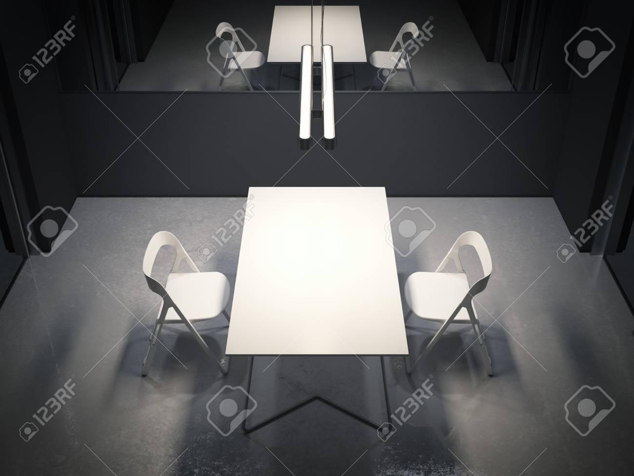 Dunkler Raum Für Verhör Mit Zwei Weißen Stühlen 3d Rendering