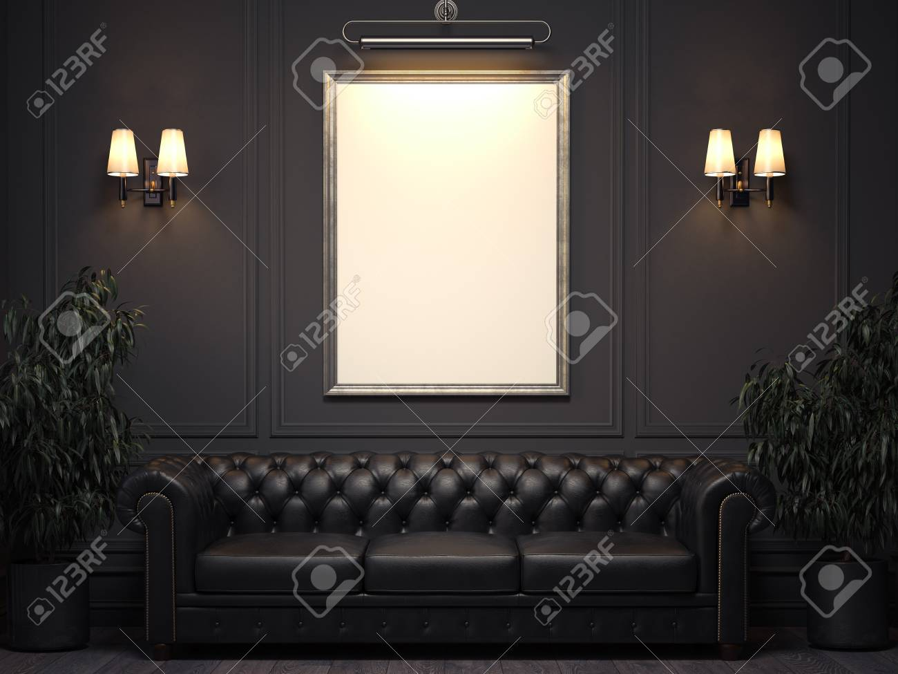 Dark classic interior with sofa and picture frame on wall. 3d rendering - 98717590