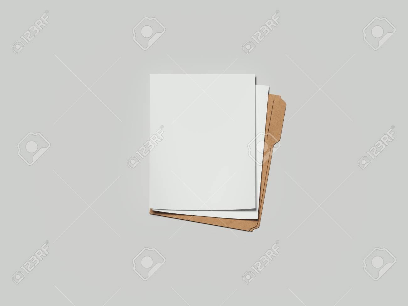 Cardboard folder with paper, 3d rendering - 100270284