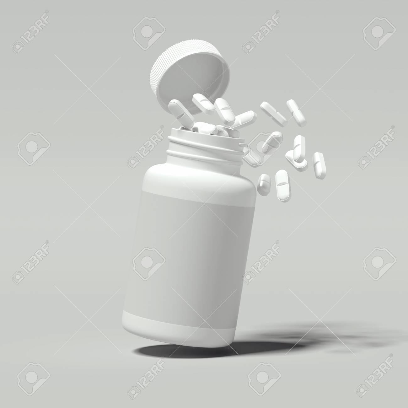 White pills spilling out of white bottle, 3d rendering. - 104840781