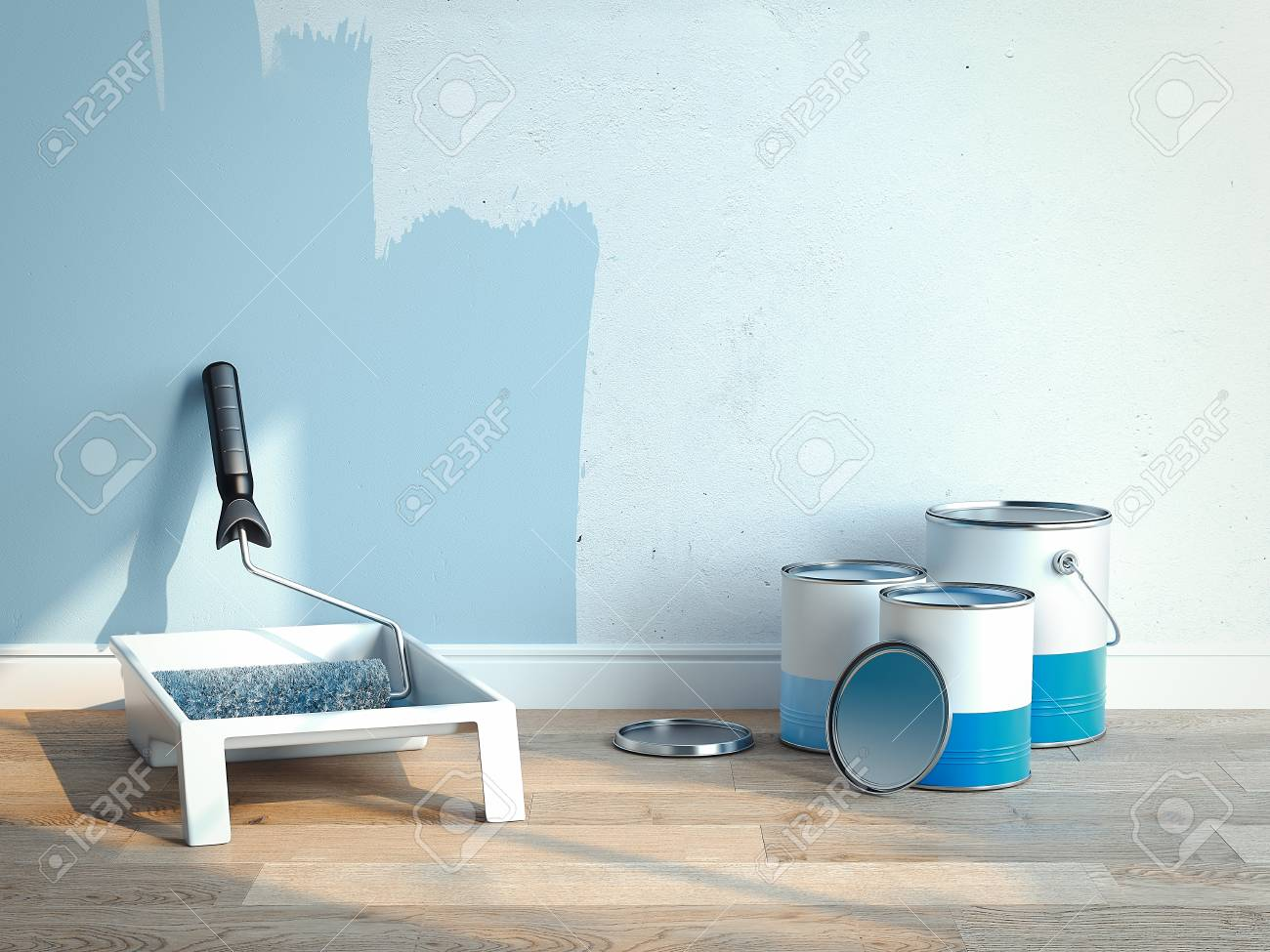 Paint cans near light blue walls, 2 cans are opened, 1 is closed, 3d rendering - 106992139