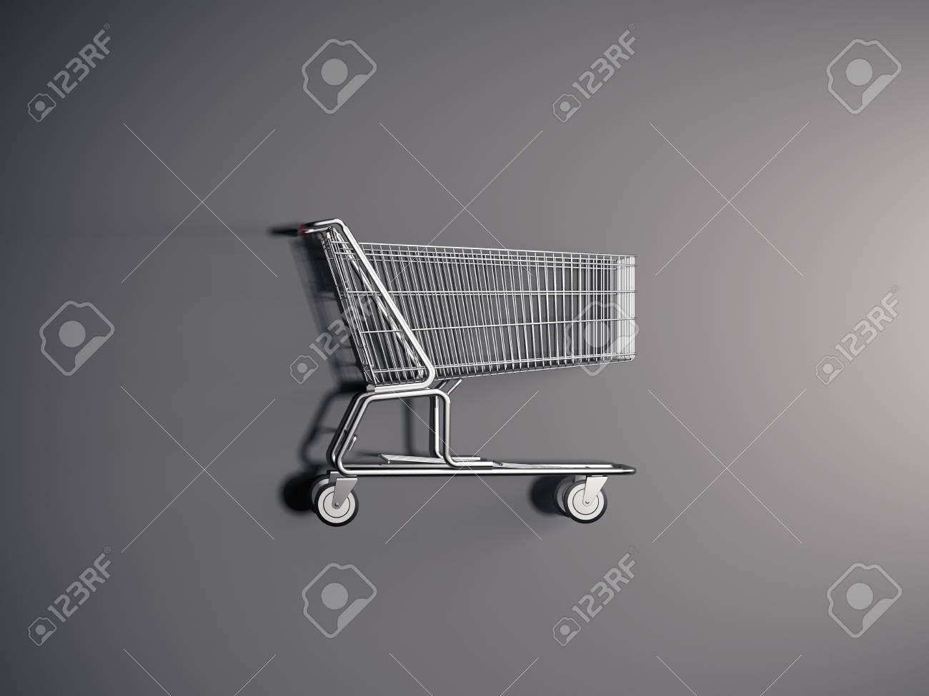 Realistic shopping cart on grey background, 3d rendering. - 106926016
