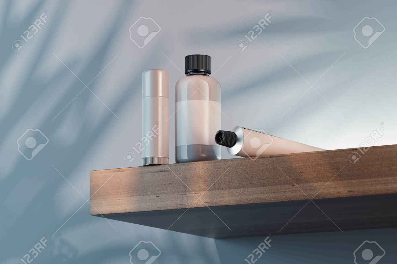 Cosmetic Bottle Set for cream, lotion. Blank plastic containers. 3d rendering. - 114373628