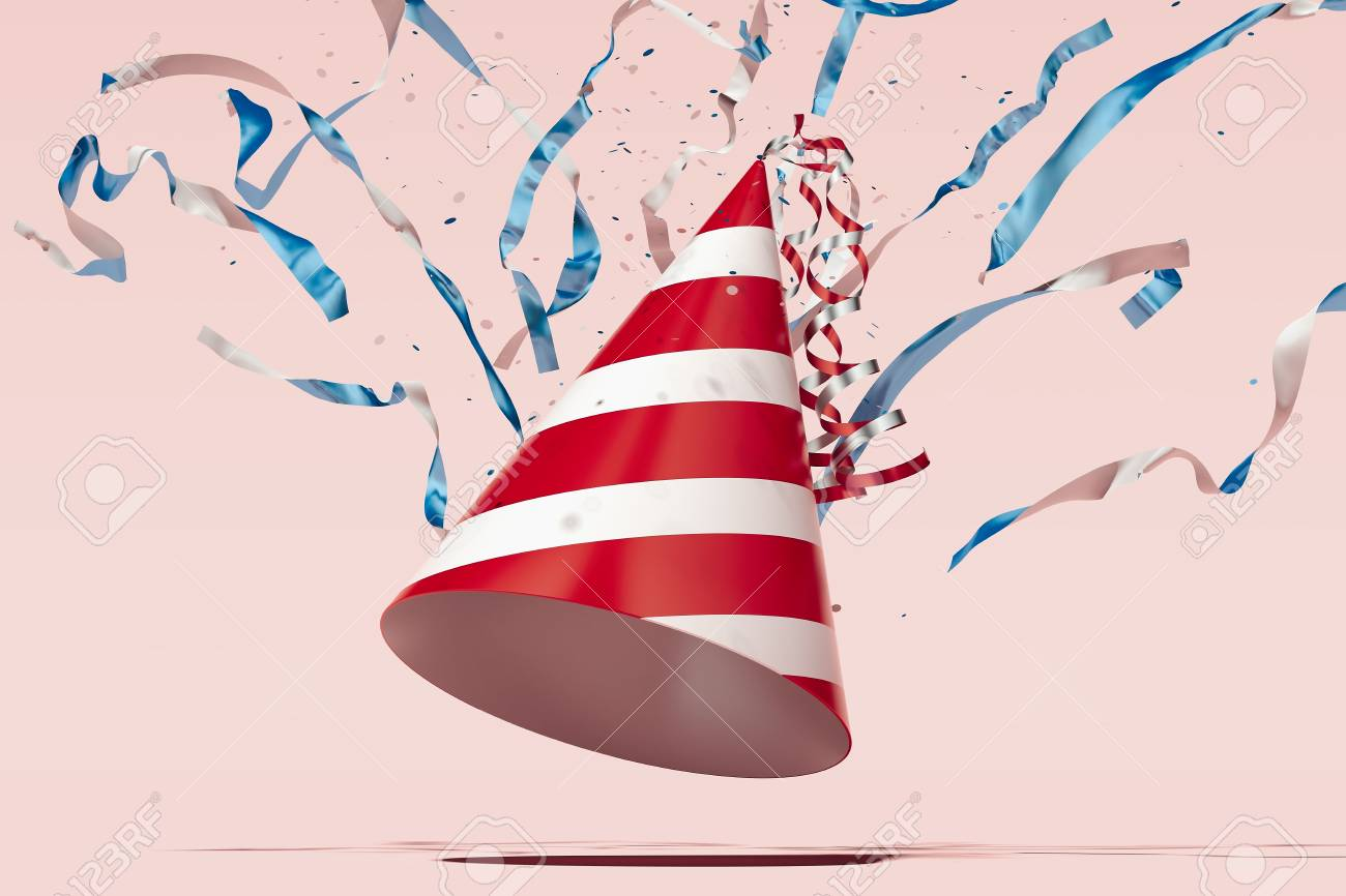 Festive party popper on light pink background, 3d rendering. - 114374497