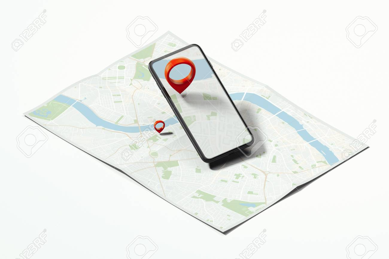 Red geotag or map pin in mobile phone on realistic map. 3d rendering. - 114374382