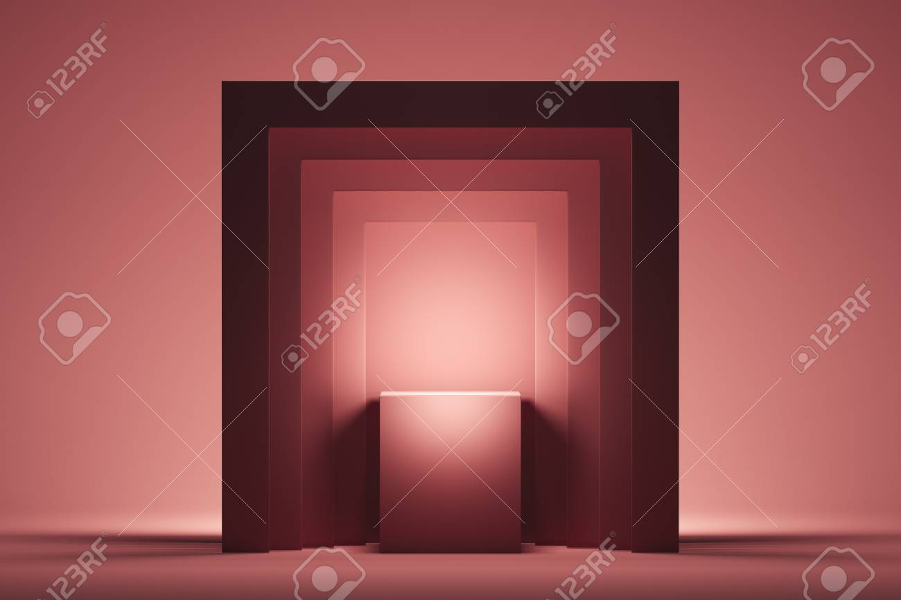 Showcase with empty space on pedestal on pink square background. 3d rendering. - 117814160