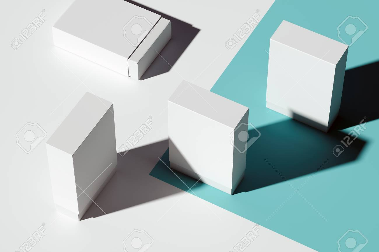 Isolated white realistic cardboard boxes on light blue background. 3d rendering. - 119693534