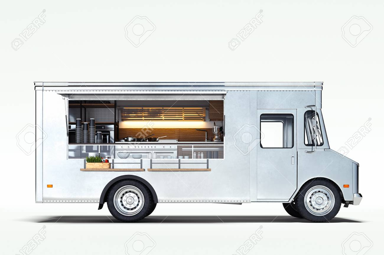 White realistic food truck isolated on white. 3d rendering. - 119693635