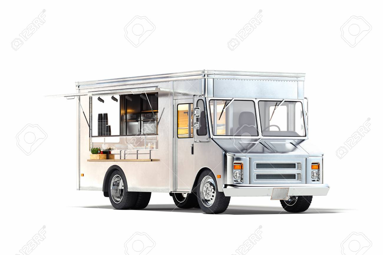 White realistic food truck isolated on white. 3d rendering. - 119693638