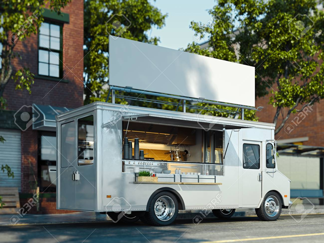 White food truck with detailed interior. Takeaway food and drinks. 3d rendering. - 119693992