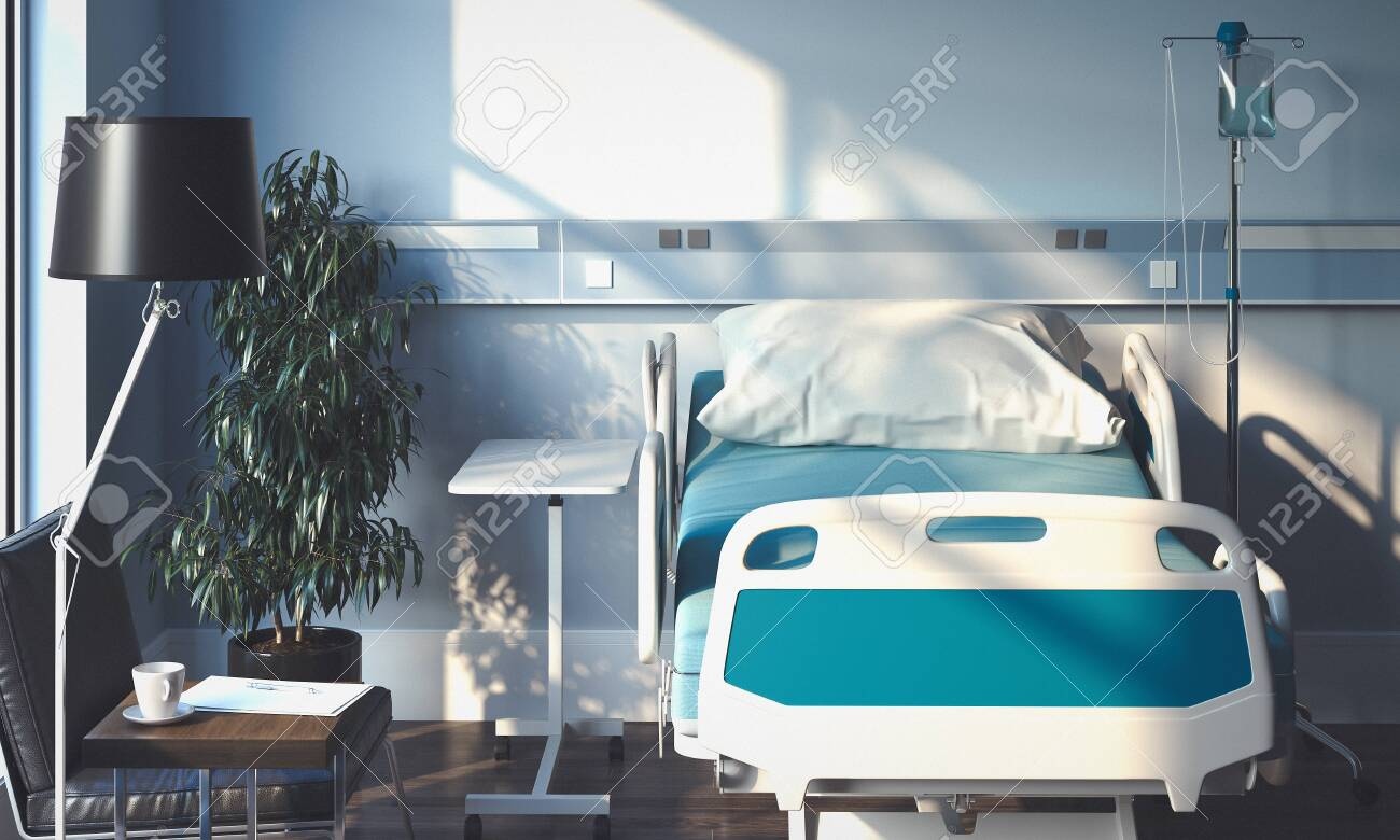 Recovery Room with bed and medical equipment n hospital. 3d rendering. - 121871028