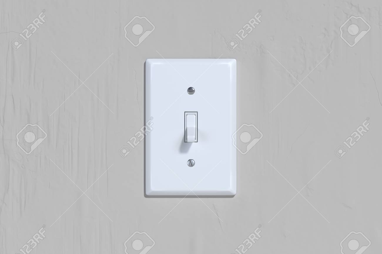 On and Off switch. Light switch on bright wall. 3d rendering. - 123841194