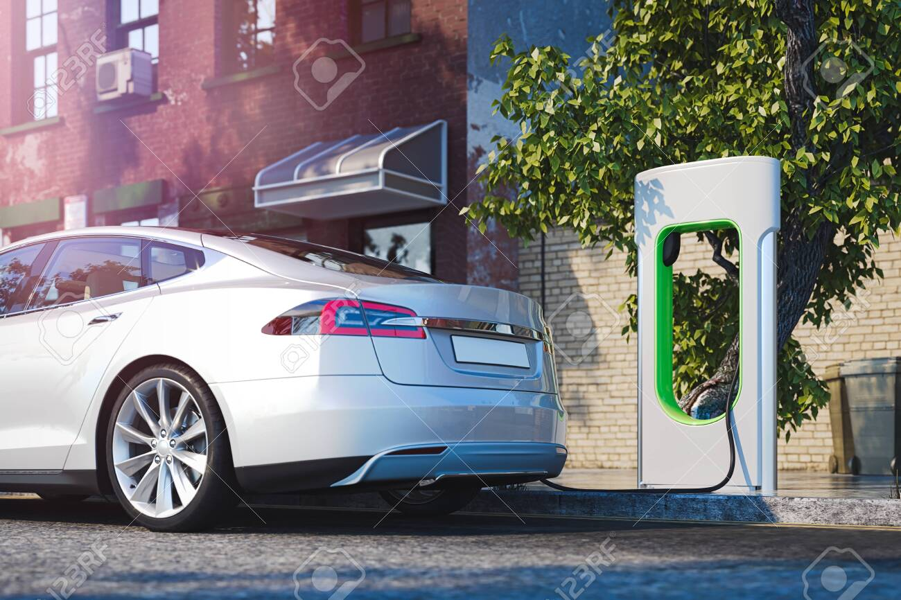 Electric white modern car near Electric car charging station at street. 3d rendering - 126080290