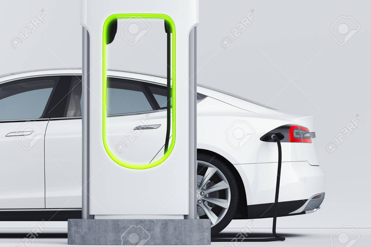Electric white modern car near Electric car charging station. 3d rendering. - 126080784