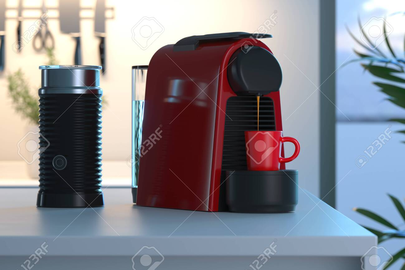 Espresso coffee capsules machine in process of making fresh coffee in bright modern cozy kitchen. 3d rendering. - 127679284
