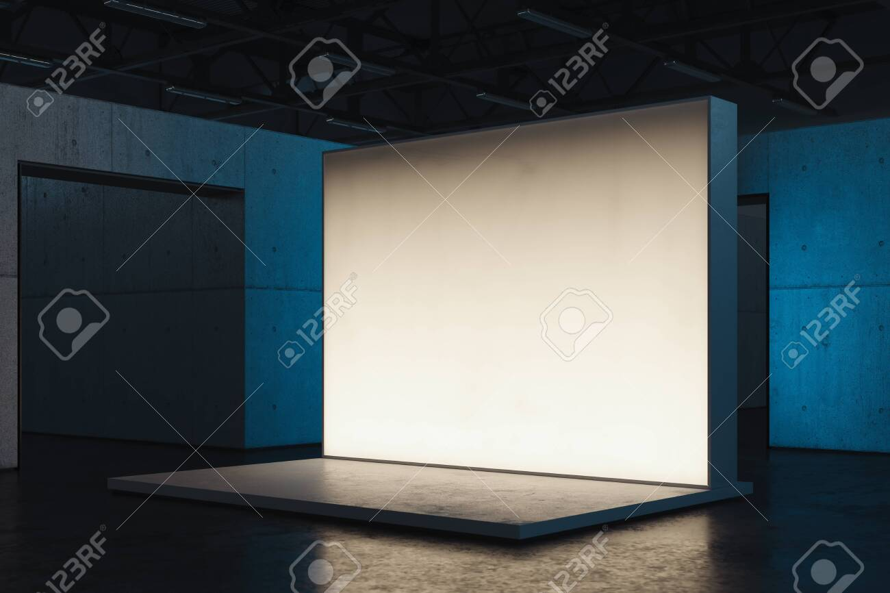 Illuminated blank white Canvas placard or billboard or wall in showroom, 3d rendering. - 129912442