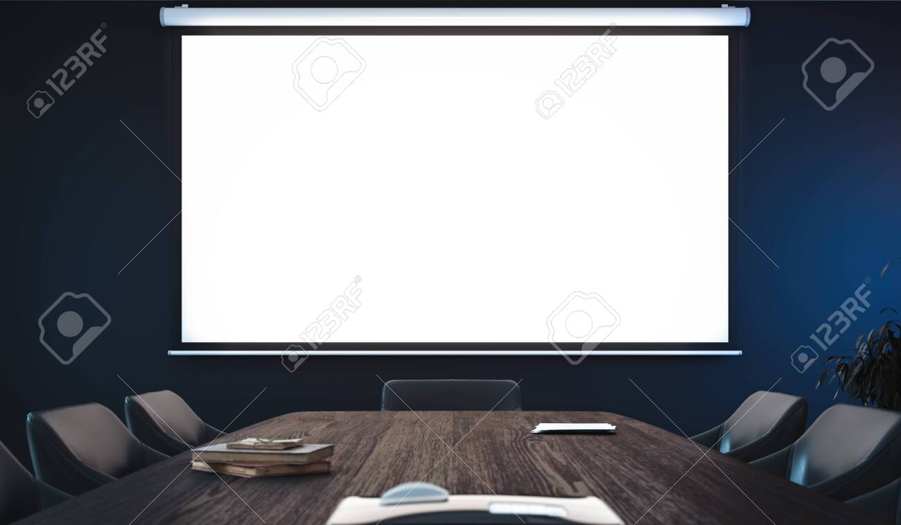 Projector screen canvas in modern conference room. 3d rendering. - 129912451